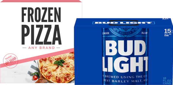 $3.00 for Bud Light® AND Frozen Pizza (expiring on Saturday, 12/01/2018). Offer available at multiple stores.