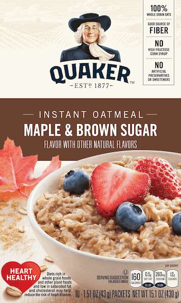 $0.75 for Quaker® Instant Oatmeal. Offer available at Walmart.