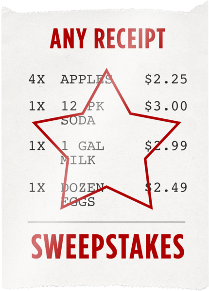 $0.00 for Any Receipt Sweepstakes (expiring on Monday, 02/26/2018). Offer available at multiple stores.