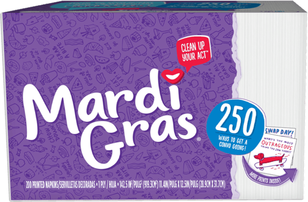 $0.50 for Mardi Gras® Printed Napkins (expiring on Sunday, 12/31/2017). Offer available at multiple stores.
