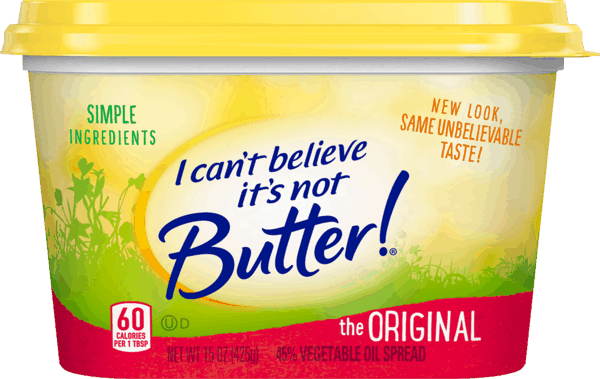 $0.50 for I Can't Believe It's Not Butter!® Spread (expiring on Saturday, 07/14/2018). Offer available at Stop & Shop, Giant (DC,DE,VA,MD), GIANT (PA,WV,MD,VA).