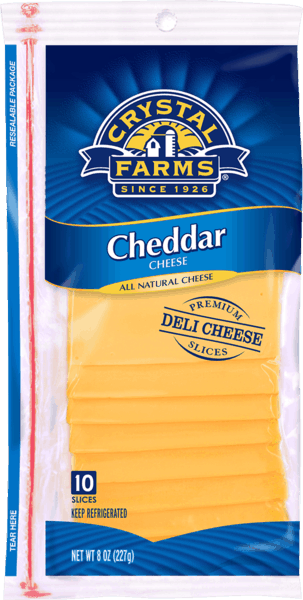 $0.50 for Crystal Farms® Cheese Slices and Singles (expiring on Sunday, 09/02/2018). Offer available at multiple stores.