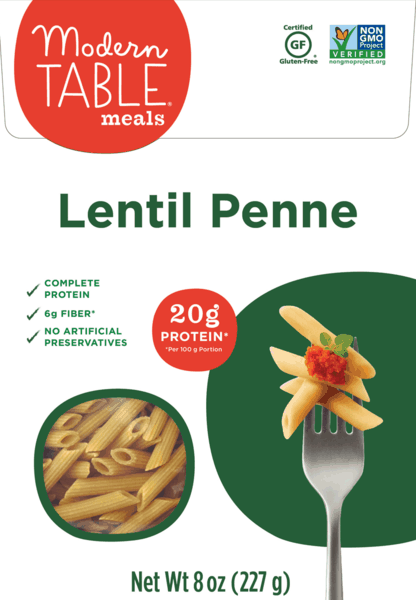 $1.00 for Modern Table Meals® Lentil Pasta (expiring on Sunday, 09/02/2018). Offer available at multiple stores.