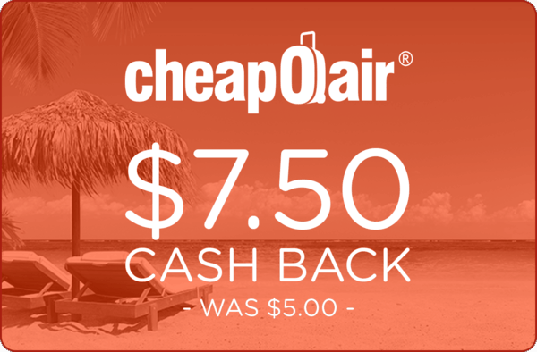 $7.50 for CheapOair (expiring on Thursday, 10/12/2017). Offer available at CheapOair.