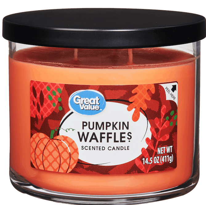 $1.00 for Great Value Limited Edition Pumpkin Waffles Scented Candle, 14.5 oz (expiring on Saturday, 10/31/2020). Offer available at Walmart Pickup & Delivery.