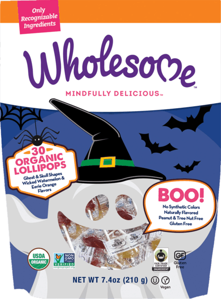 $1.00 for Wholesome!® Halloween Lollipops (expiring on Wednesday, 10/18/2017). Offer available at multiple stores.