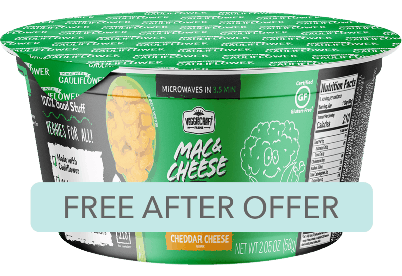 $1.98 for Veggiecraft Farms Mac & Cheese Cups. Offer available at Walmart.