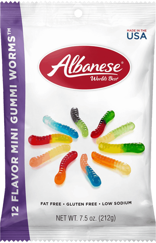 $0.50 for Albanese 12 Flavor Mini Gummi Worms (expiring on Sunday, 02/14/2021). Offer available at Walgreens.