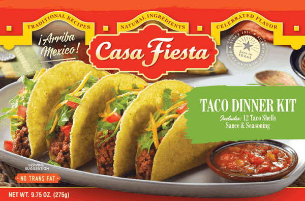 $2.75 for Casa Fiesta® Taco Dinner Kit or Taco Sauce (expiring on Monday, 04/02/2018). Offer available at multiple stores.