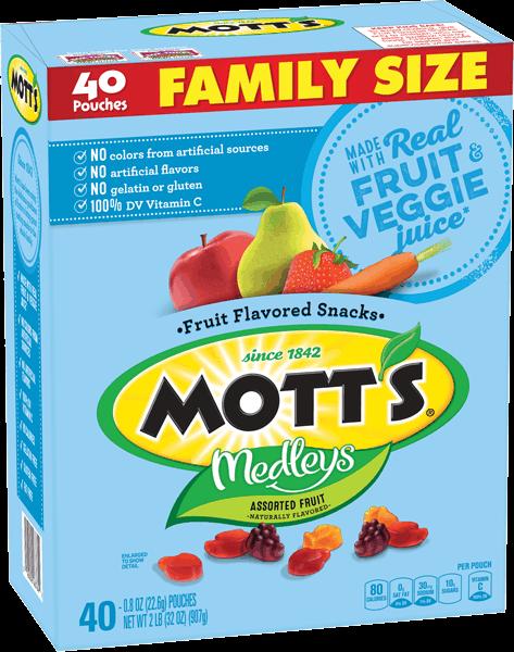 $1.00 for Mott's® Medleys Assorted Fruit Flavored Snacks. Offer available at multiple stores.