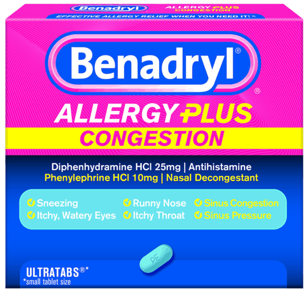 graphic relating to Benadryl Printable Coupon referred to as $1.25 for BENADRYL® ALLERGY In addition CONGESTION. Present offered