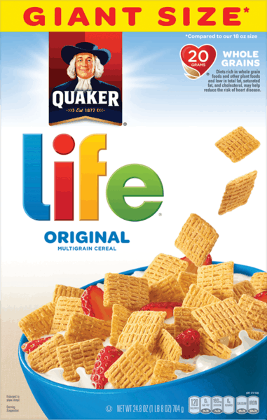 $0.60 for Quaker Life® Cereal (expiring on Monday, 04/02/2018). Offer available at Walmart.