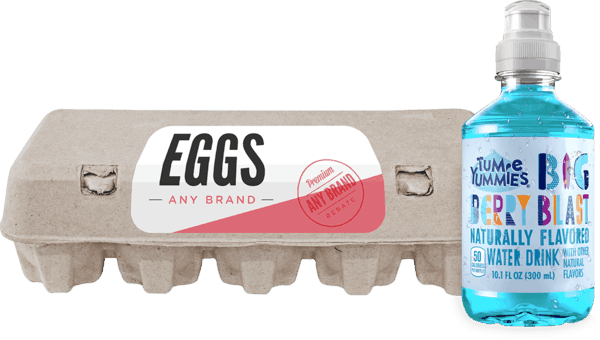 $0.50 for Tum-E Yummies® Fruit Flavored Water Drink and Eggs Combo (expiring on Tuesday, 10/02/2018). Offer available at multiple stores.