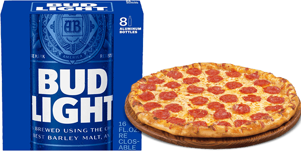 $5.00 for Budweiser® or Bud Light® AND Any Brand Fresh Pizza Combo. Offer available at multiple stores.
