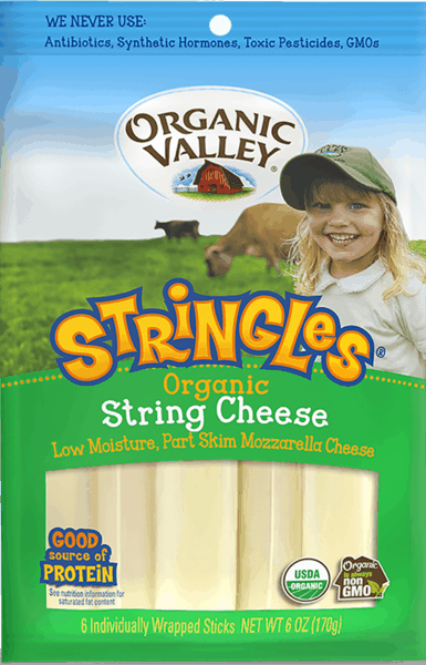 $1.50 for Organic Valley® Stringles® Snack Cheese. Offer available at multiple stores.