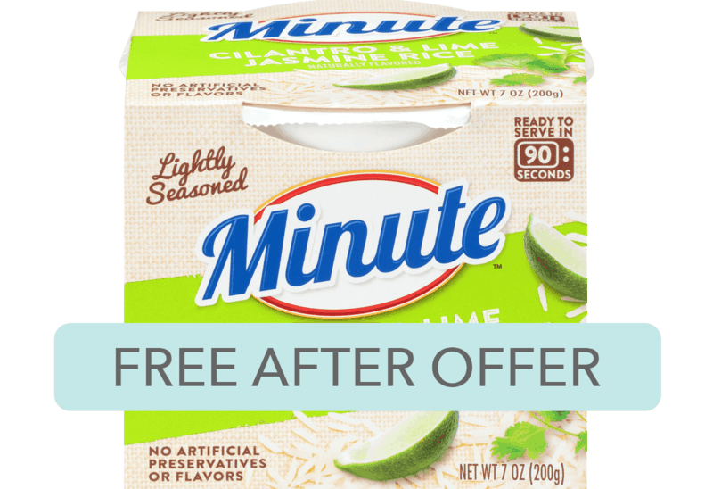 $1.88 for Minute Ready to Serve Rice. Offer available at Walmart, Kroger, Publix, Food Lion.