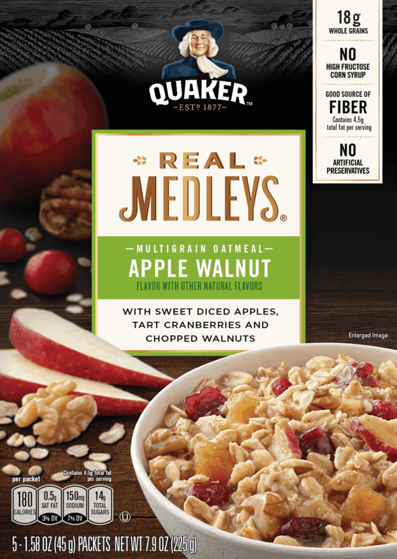 $1.00 for Quaker® Real Medleys® Multigrain Oatmeal (expiring on Monday, 03/02/2020). Offer available at Walmart.
