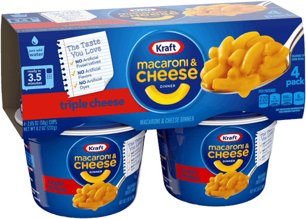 $0.25 for KRAFT® Macaroni & Cheese Microwavable Cups (expiring on Sunday, 06/02/2019). Offer available at Walmart.