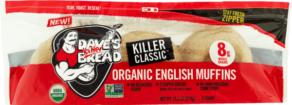 $2.00 for Dave's Killer Bread® Organic English Muffins. Offer available at multiple stores.