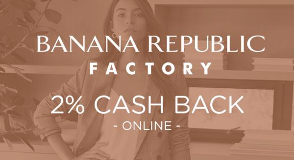 $0.00 for Banana Republic Factory (expiring on Thursday, 04/30/2020). Offer available at Banana Republic Factory.