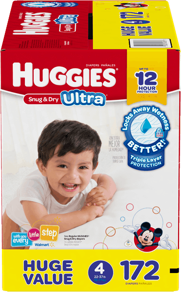 $4.00 for HUGGIES® Huge Value Diapers (expiring on Monday, 03/06/2017). Offer available at Walmart.