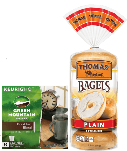 $2.50 for Green Mountain Coffee® & Any Thomas'® Product. Offer available at multiple stores.