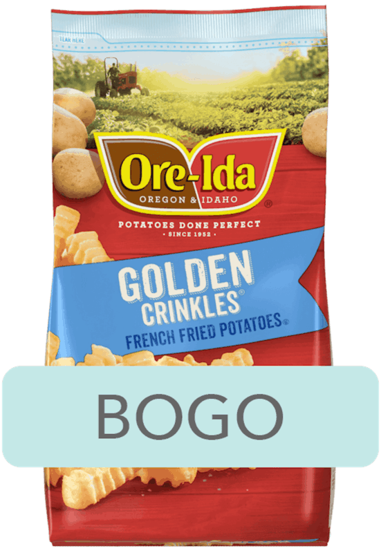 $2.50 for Ore-Ida™ Frozen French Fries, Tater Tots & Hash Browns. Offer available at H-E-B.