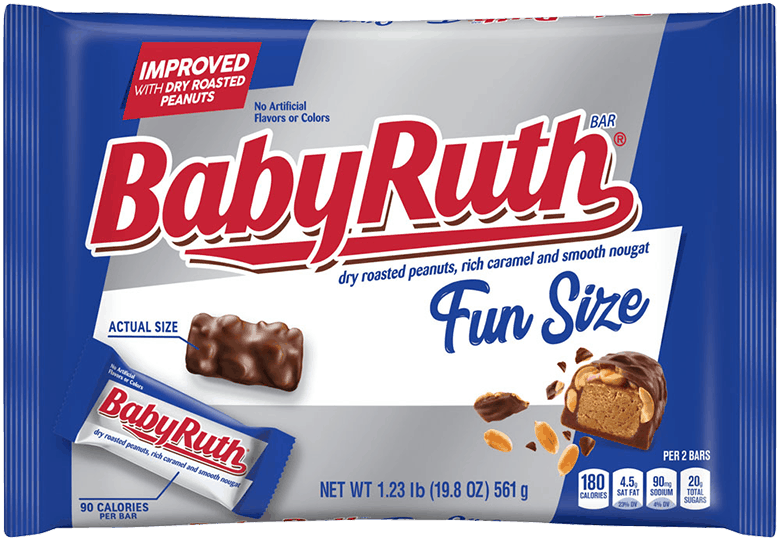 $1.50 for Baby Ruth Jumbo Fun Size, 19.8oz (expiring on Sunday, 08/02/2020). Offer available at Walmart.