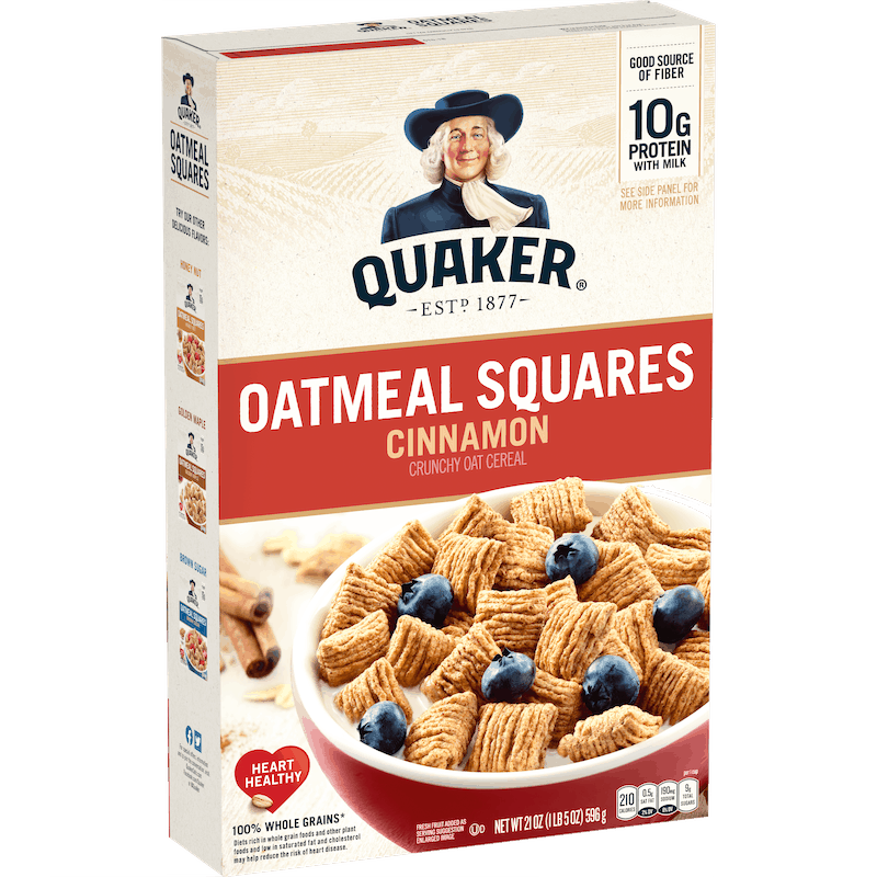 $0.50 for Quaker Oatmeal Squares (expiring on Friday, 04/30/2021). Offer available at Walmart, Walmart Grocery.