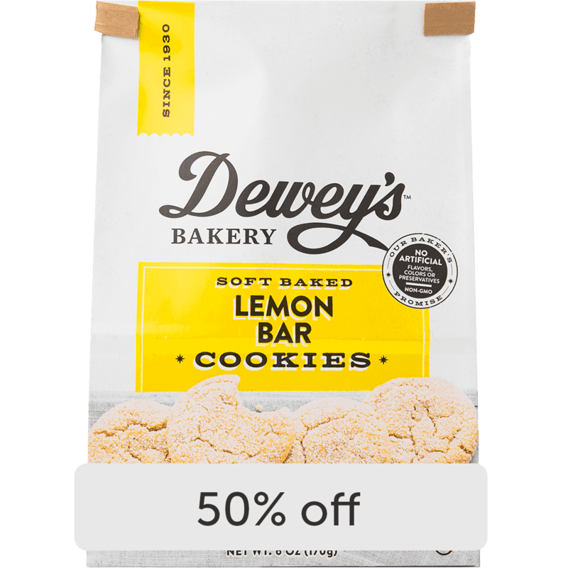 $2.00 for Dewey's Bakery Soft Baked Cookies and Cookie Thins (expiring on Monday, 09/06/2021). Offer available at Wegmans.