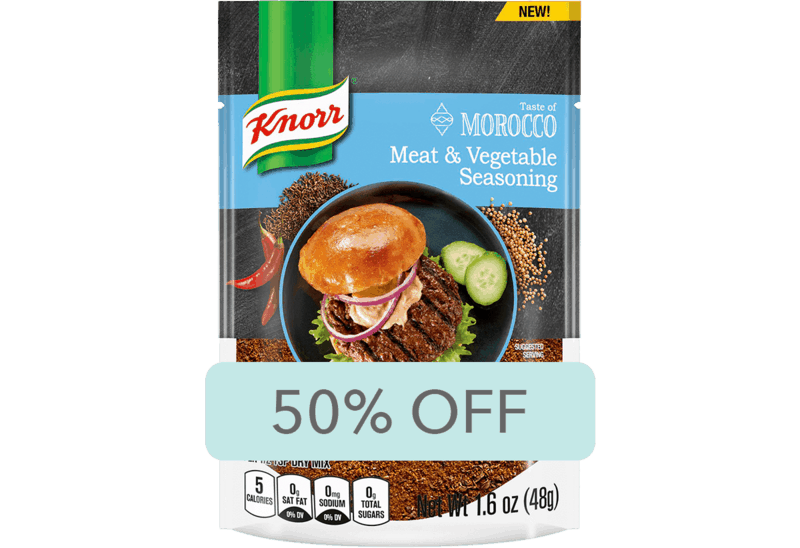 $1.50 for Knorr Taste of Morocco Meat & Vegetable Seasoning (expiring on Sunday, 04/26/2020). Offer available at Walmart.