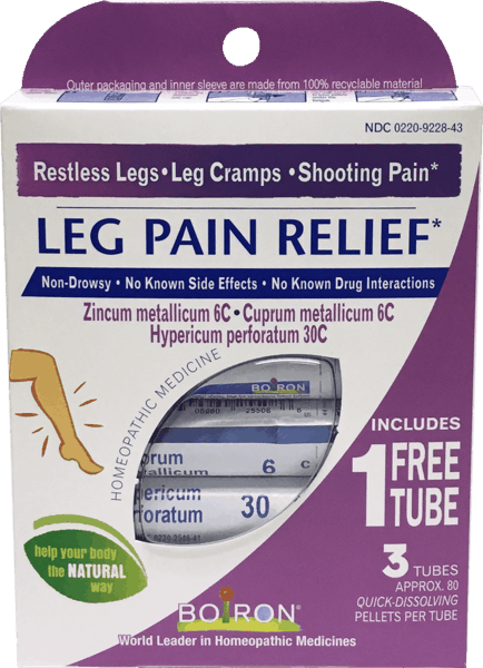 $1.00 for Boiron® Leg Pain Relief (expiring on Wednesday, 08/31/2022). Offer available at Vitamin Shoppe.