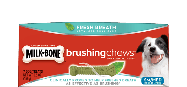 $0.75 for Milk-Bone® Brushing Chews® Dental Treats (expiring on Sunday, 08/20/2017). Offer available at Walmart.