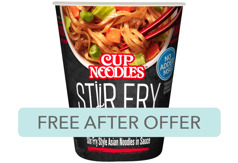 $0.78 for Cup Noodles Stir Fry. Offer available at Walmart.