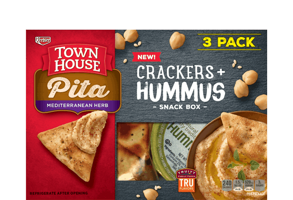 $5.50 for Town House® Crackers + Hummus Snack Box. Offer available at Walmart.