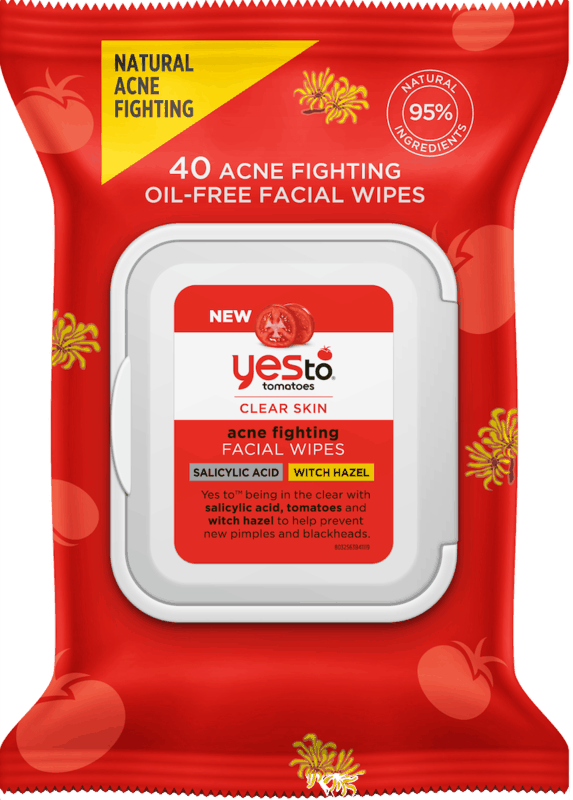 $1.25 for Yes To Tomatoes Acne Fighting Facial Wipes with Witch Hazel and Salicylic Acid (expiring on Wednesday, 03/11/2020). Offer available at Walmart.