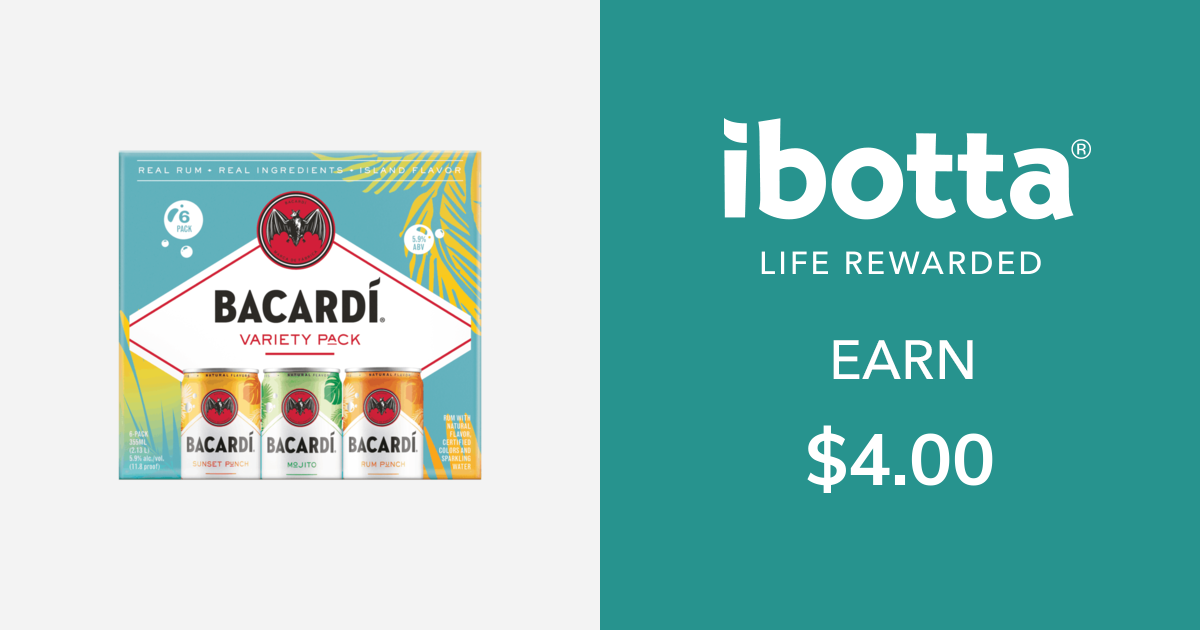 Get $4.00 back on on Bacardi Ready to Drink Rum Cocktail Variety Pack for 6pk only.