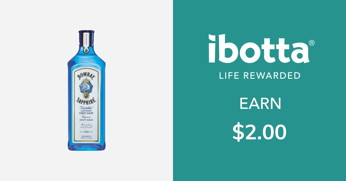 Get $2.00 back on on Bombay Sapphire Gin - any variety, 750ml - 1.75L sizes only