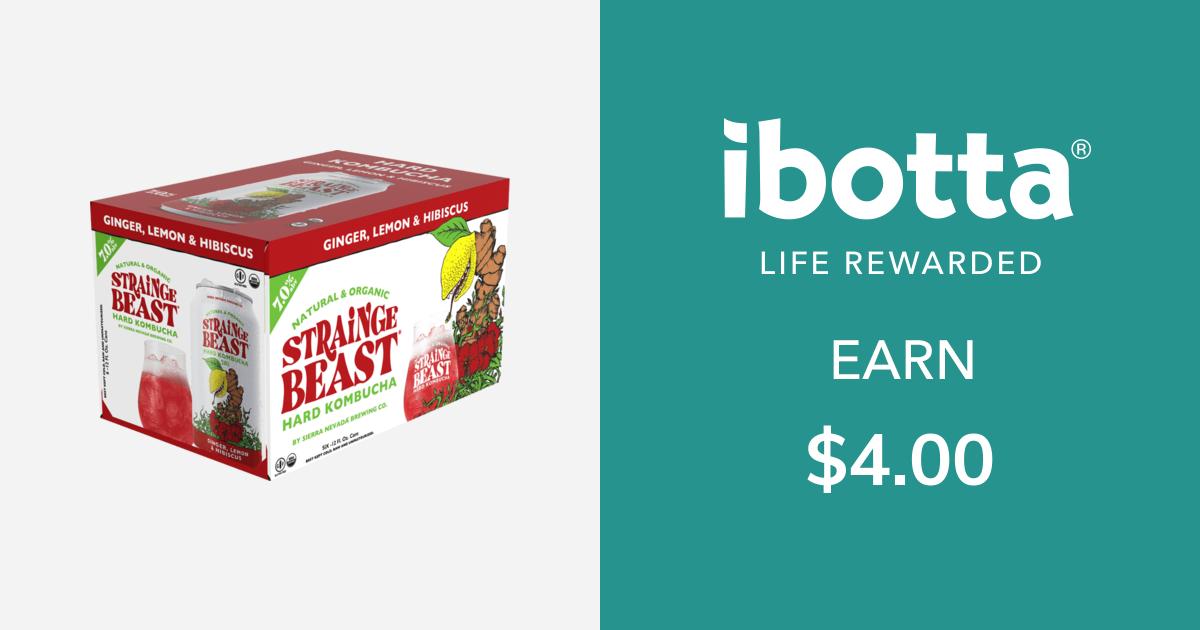 Get $4.00 back on Strainge Beast Hard Kombucha - any variety, 6 pk only.