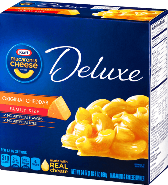 $0.25 for KRAFT® Deluxe Macaroni & Cheese (expiring on Sunday, 06/02/2019). Offer available at Walmart.