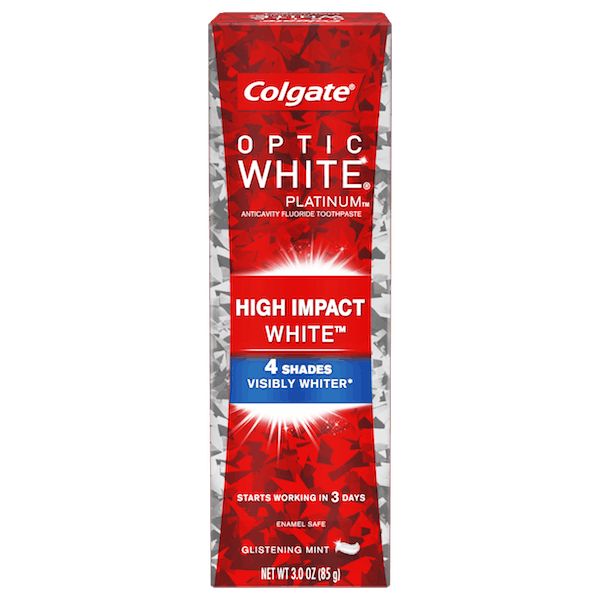 $1.50 for Colgate® Optic White® Platinum™ or Radiant™ Toothpaste (expiring on Saturday, 02/02/2019). Offer available at multiple stores.