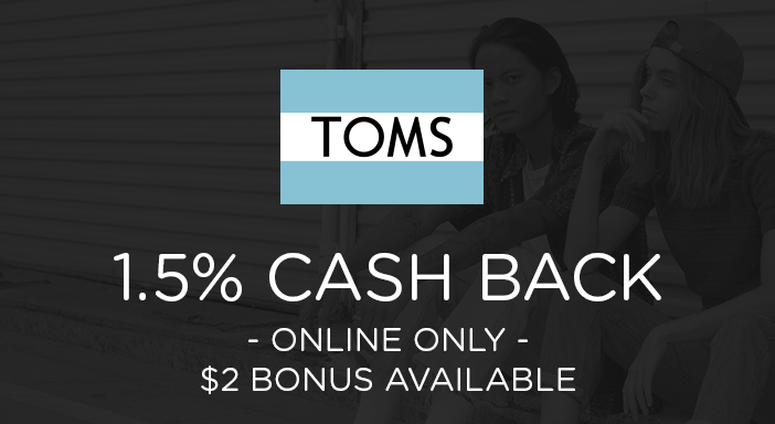 $0.00 for TOMS shoes (expiring on Monday, 03/31/2025). Offer available at TOMS.