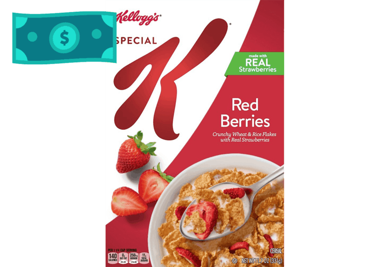 $0.75 for Kellogg's Special K Cereal. Offer available at multiple stores.