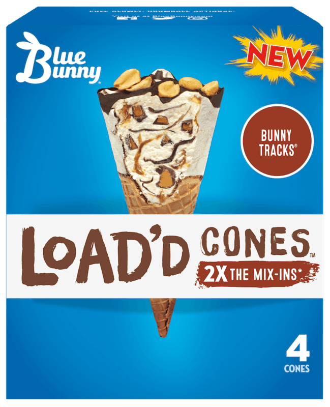 $1.25 for Blue Bunny Load'd Cones (expiring on Friday, 04/30/2021). Offer available at H-E-B, H-E-B Online.