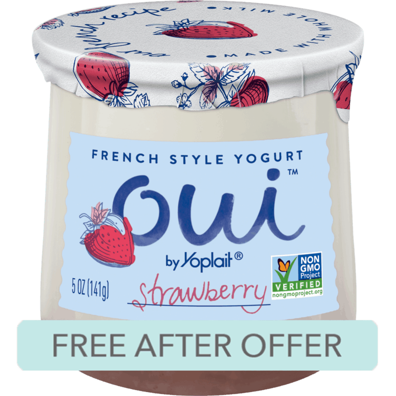 $1.34 for Oui by Yoplait (expiring on Saturday, 02/22/2020). Offer available at Walmart.