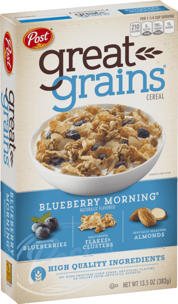 $0.50 for Post® Great Grains® Blueberry Morning® Cereal (expiring on Friday, 05/10/2019). Offer available at multiple stores.