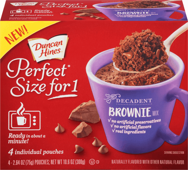 $0.75 for Duncan Hines® Perfect Size for 1® (expiring on Wednesday, 11/01/2017). Offer available at BI-LO, Winn-Dixie.