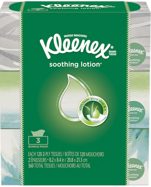 $1.00 for Kleenex® Soothing Lotion Tissue. Offer available at multiple stores.