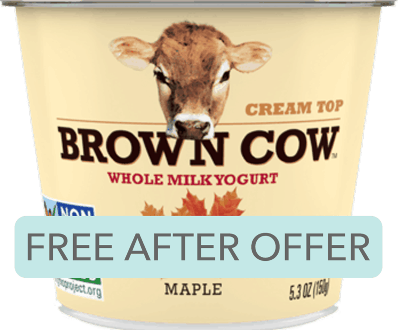 $0.99 for Brown Cow Cream Top Small Cup Yogurt (expiring on Wednesday, 10/02/2019). Offer available at Whole Foods Market®.