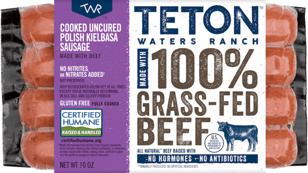$1.25 for Teton™ Waters Ranch 100% Grass-fed and Finished Dinner Sausage or Hot Dog. Offer available at multiple stores.